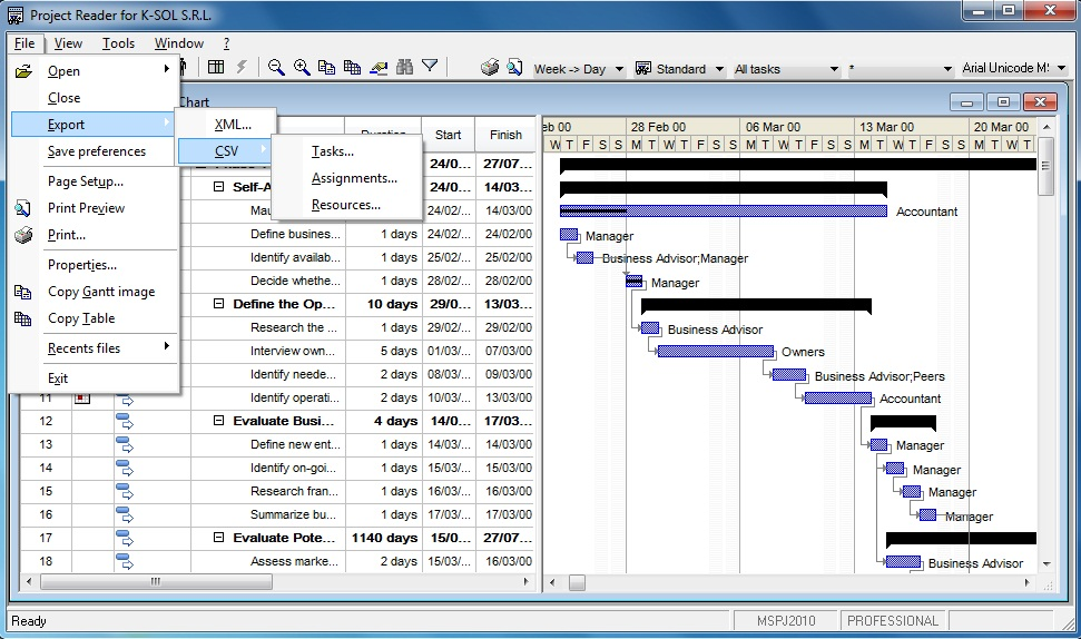Viewer for Microsoft Project. File menu