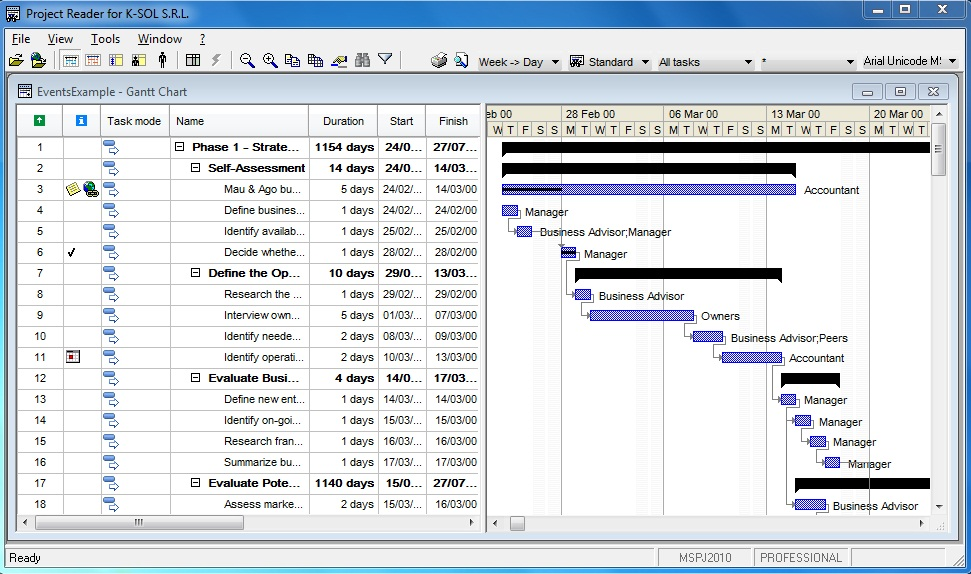 Microsoft Project Viewer Screenshot Gallery