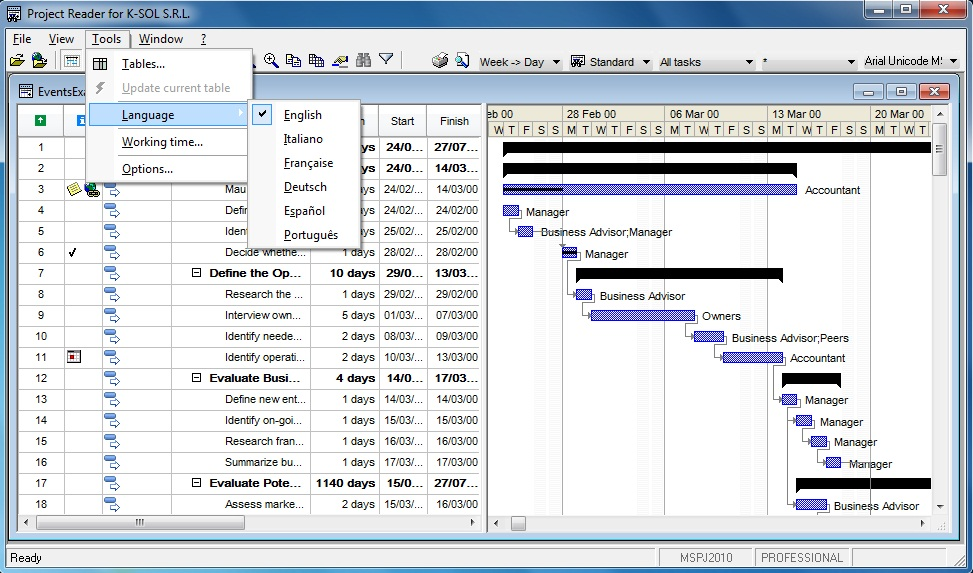 Viewer for Microsoft Project. Menu Tools