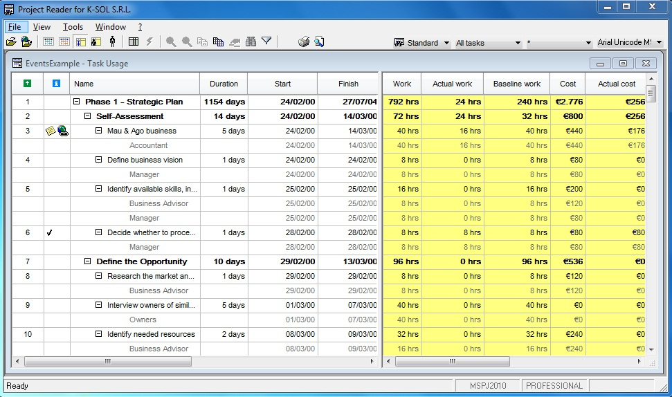 Viewer for Microsoft Project. Task usage
