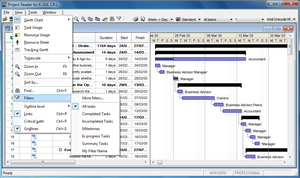 Viewer for Microsoft Project. Gantt View